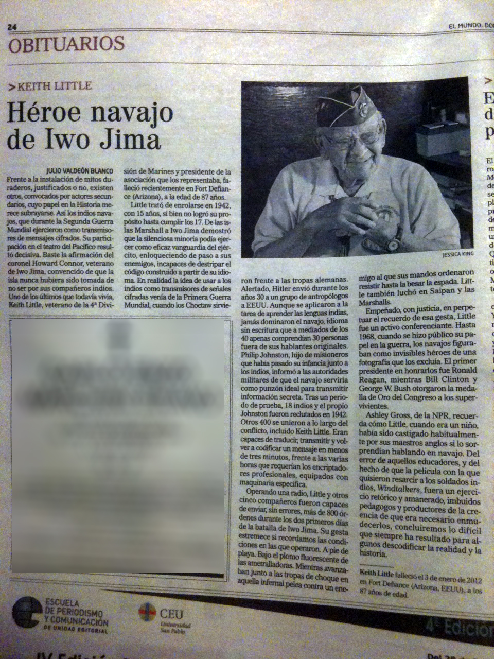 Obituario de El héroe navajo de Iwo Jima, célebre personaje histórico en la comunidad Navajo