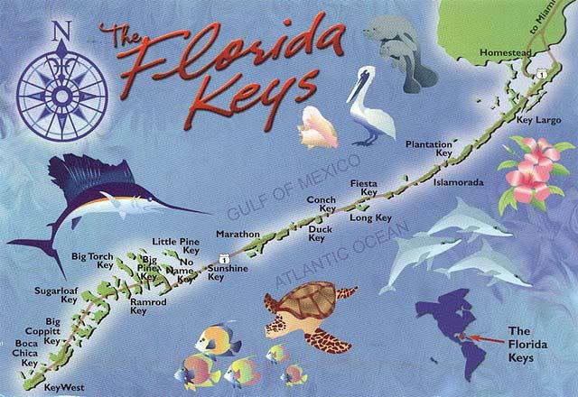"""Mapa de la ruta por la """"Overseas Highway"""" por los cayos de Florida florida keys, carretera al paraíso (mejor con un mustang) - carretera florida keys - Florida Keys, carretera al paraíso (mejor con un Mustang)"""
