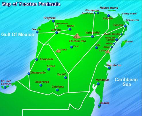 Localización de Chichén Itzá dentro de la Península del Yucatán (México) [object object] - localizacion chichen itza - Chichén Itzá, el gran vestigio de la civilización Maya