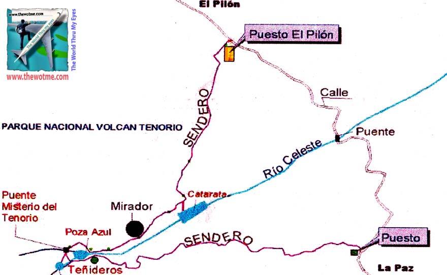 Mapa de la caminata del Trail en el Río Celeste (Volcán Tenorio), de unos 6km río celeste, colorido capricho de la naturaleza - thewotme mapa rioceleste - Río Celeste, Colorido capricho de la Naturaleza