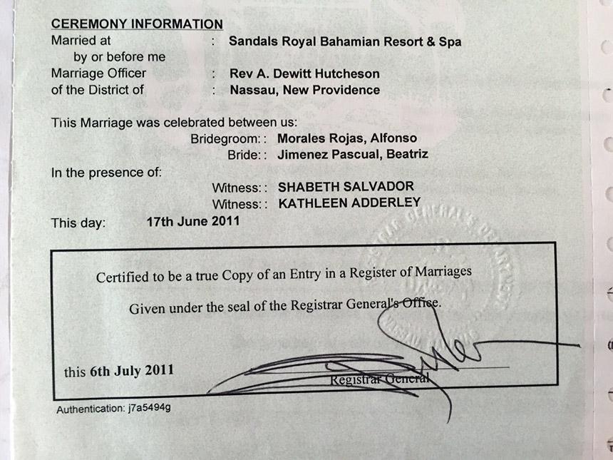 legalización boda en España Casarse en el extranjero: Nuestra boda en Bahamas Casarse en el extranjero: Nuestra boda en Bahamas docs3