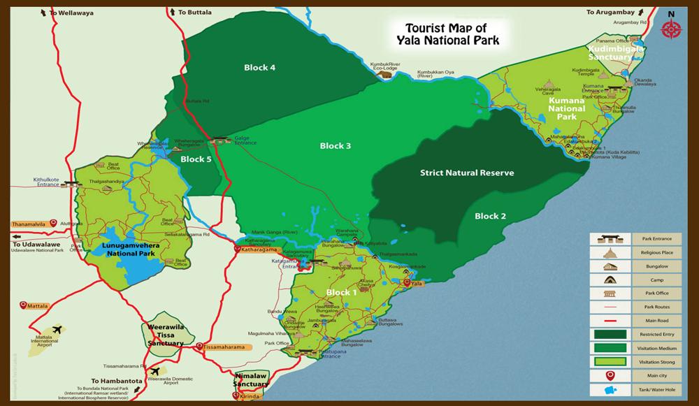 visitar el parque nacional de yala - yala map - visitar el Parque Nacional de Yala en Sri Lanka